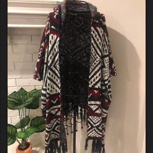 Anthropologie Elodie Fringe hood sweater kimono L